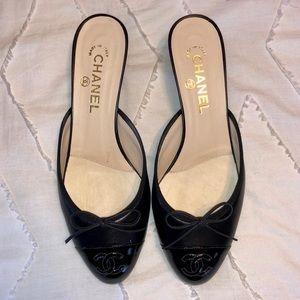 RARE Chanel Mules Black Slip On Leather Shoe